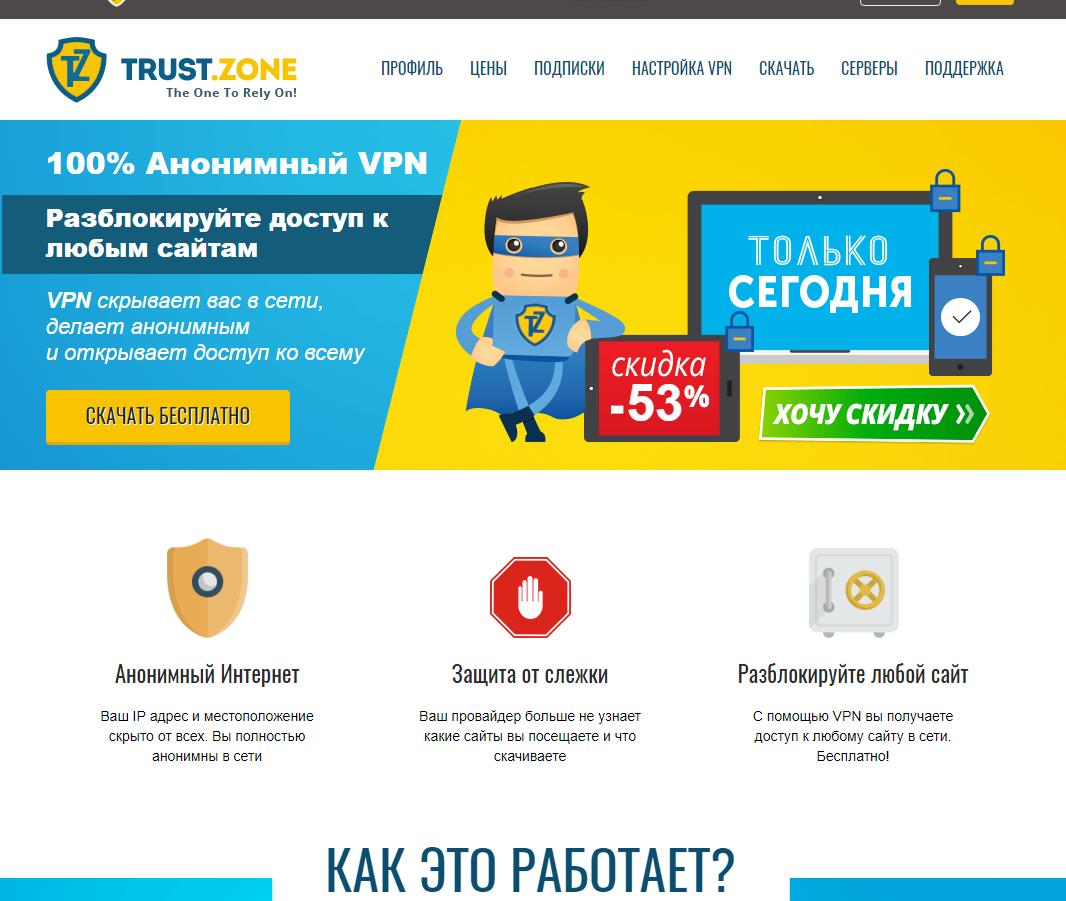 Trust zone - лучший и надежный VPN сервис! Обзор и честный отзыв.